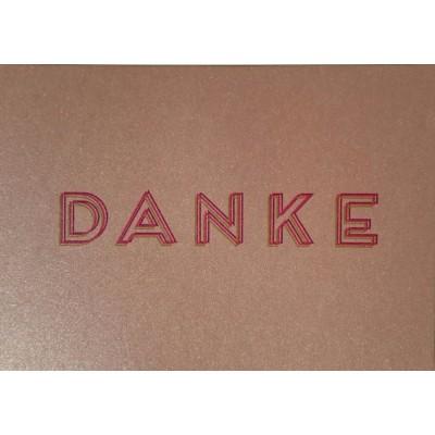 """Karte """"DANKE""""  Altrosa mit Umschlag"""